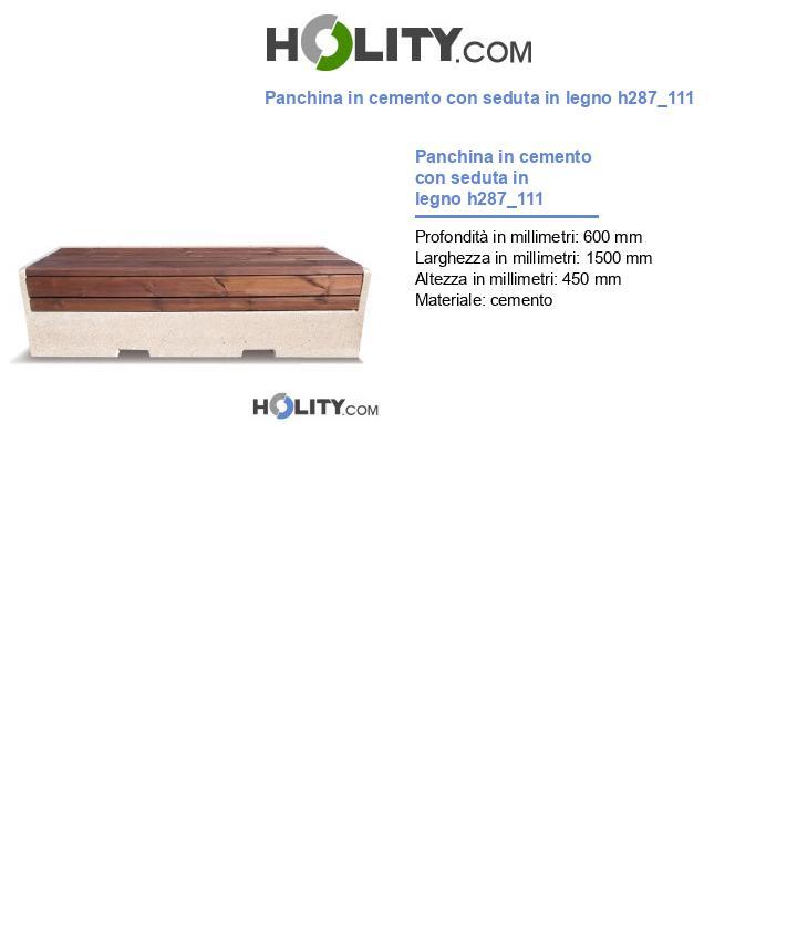 Panchina in cemento con seduta in legno h287_111