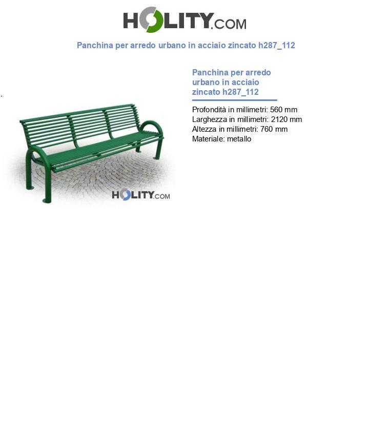 Panchina per arredo urbano in acciaio zincato h287_112
