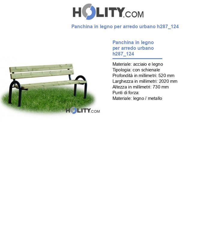 Panchina in legno per arredo urbano h287_124