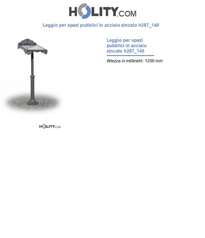 Leggio per spazi pubblici in acciaio zincato h287_140