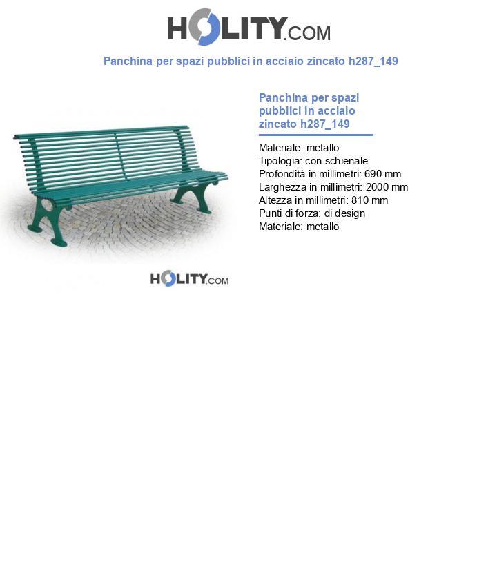Panchina per spazi pubblici in acciaio zincato h287_149