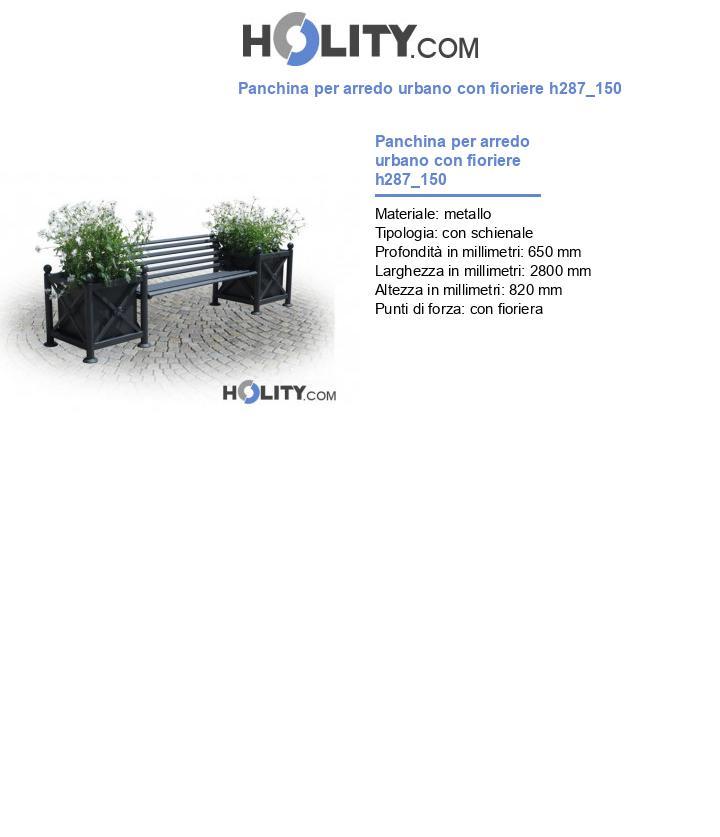 Panchina per arredo urbano con fioriere h287_150