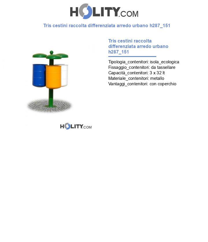 Tris cestini raccolta differenziata arredo urbano h287_151