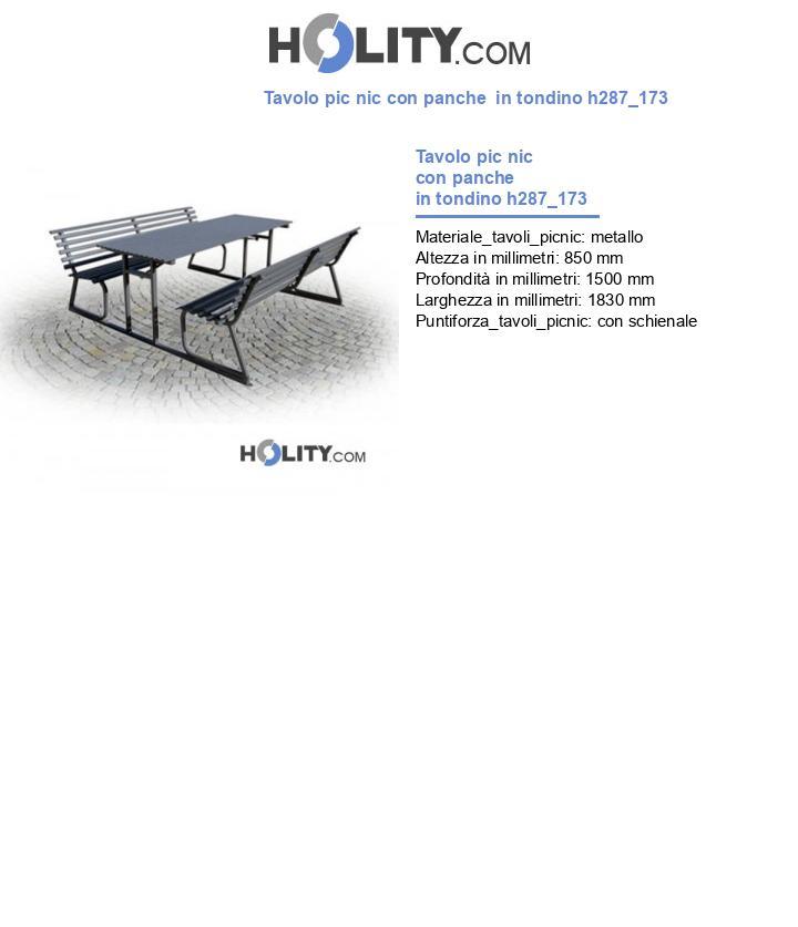 Tavolo pic nic con panche  in tondino h287_173