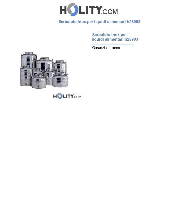Serbatoio inox per liquidi alimentari h28903