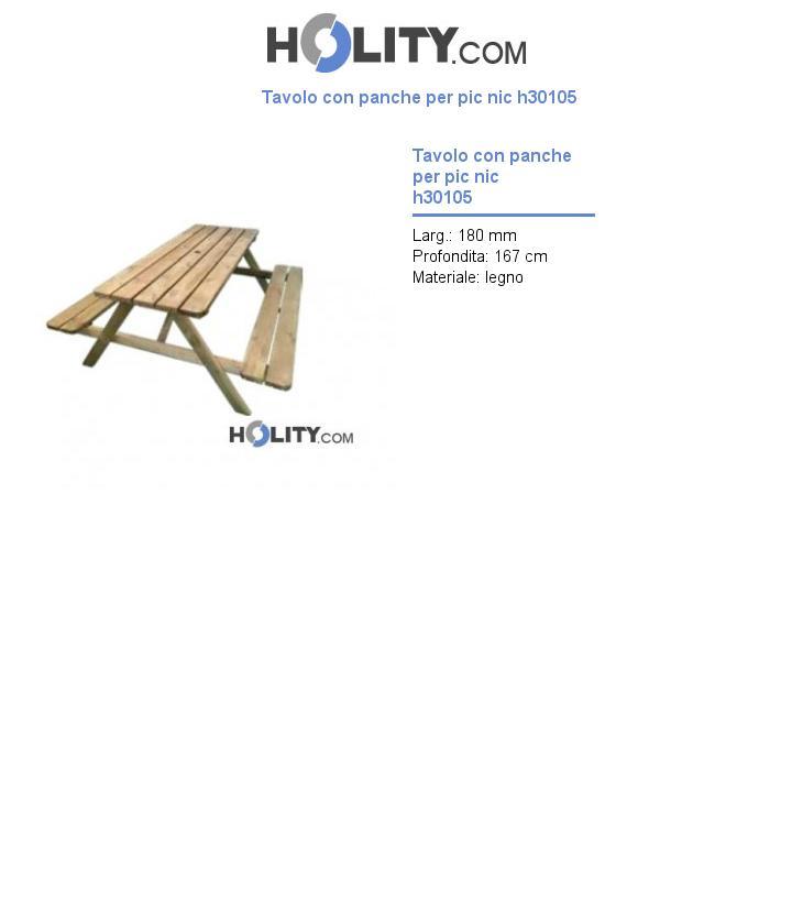 Tavolo con panche per pic nic h30105