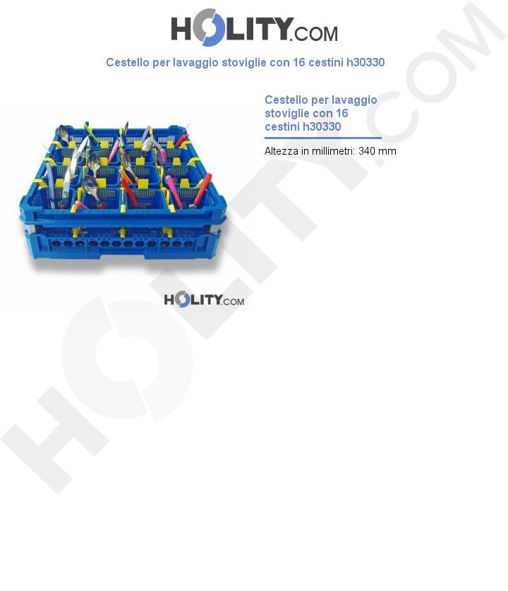 Cestello per lavaggio stoviglie con 16 cestini h30330