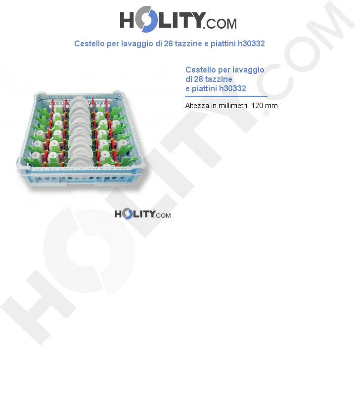 Cestello per lavaggio di 28 tazzine e piattini h30332