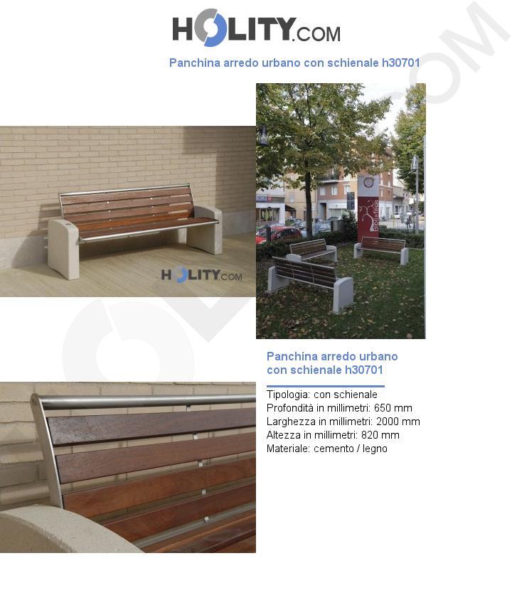 Panchina arredo urbano con schienale h30701