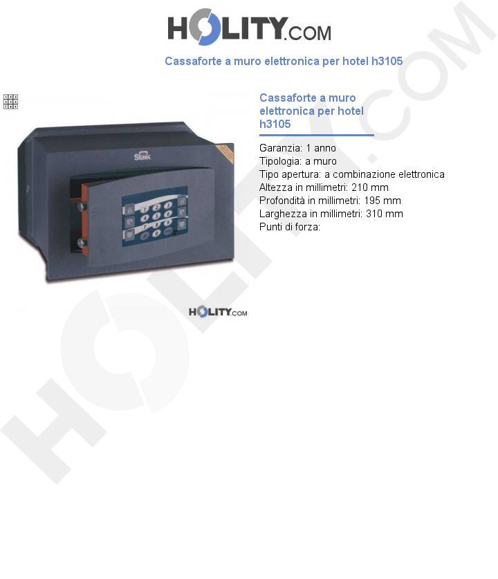Cassaforte a muro elettronica per hotel h3105