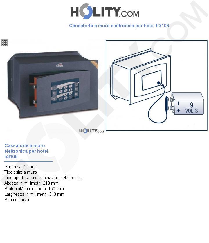 Cassaforte a muro elettronica per hotel h3106