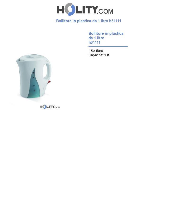 Bollitore in plastica da 1 litro h31111