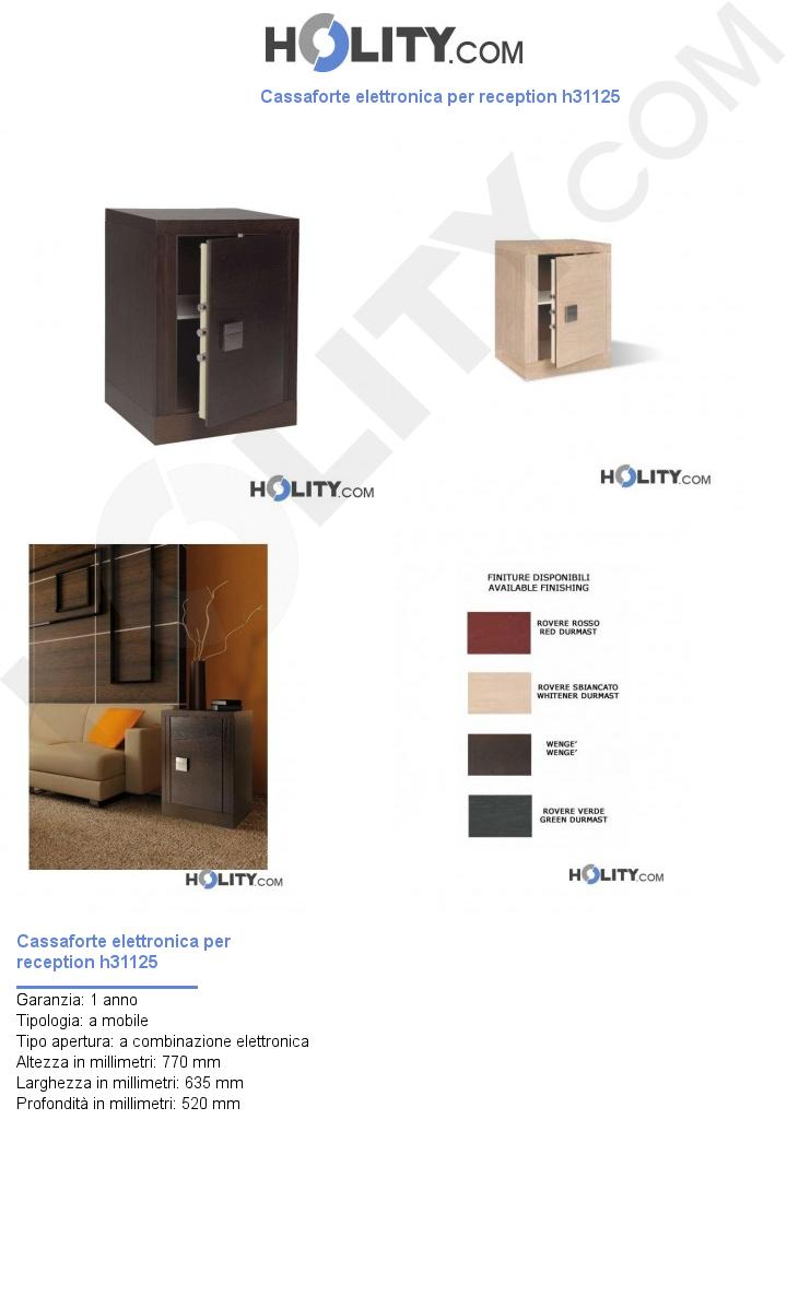 Cassaforte elettronica per reception h31125