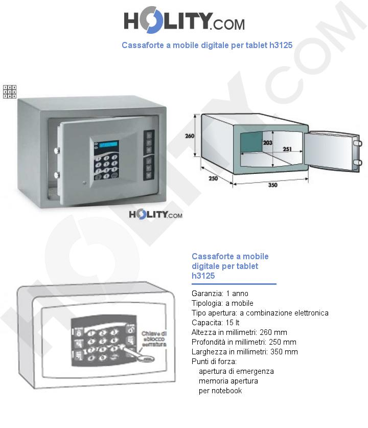 Cassaforte a mobile digitale per tablet h3125