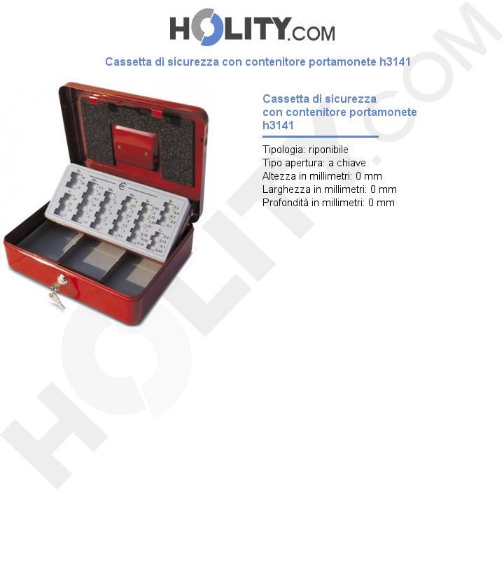 Cassetta di sicurezza con contenitore portamonete h3141