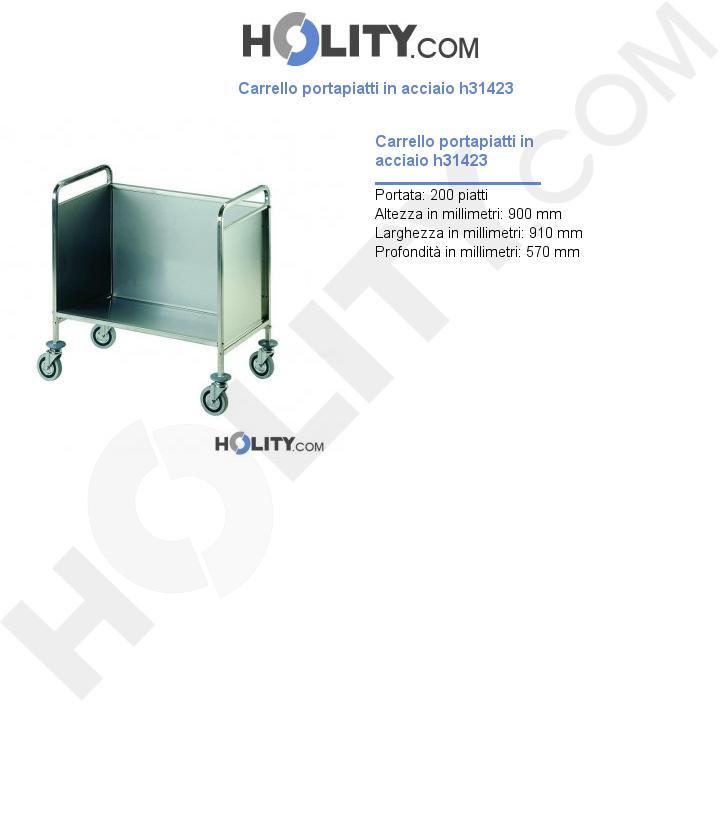 Carrello portapiatti in acciaio h31423