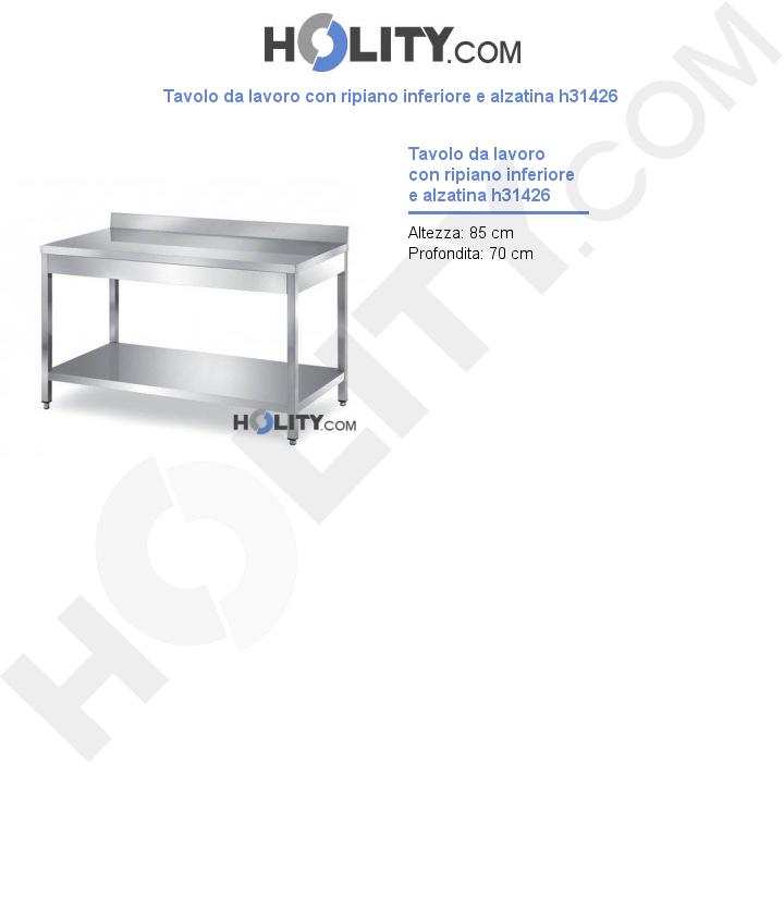 Tavolo da lavoro con ripiano inferiore e alzatina h31426