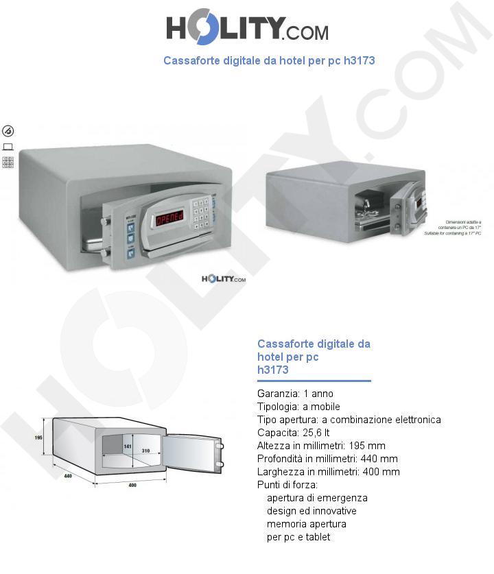 Cassaforte digitale da hotel per pc h3173