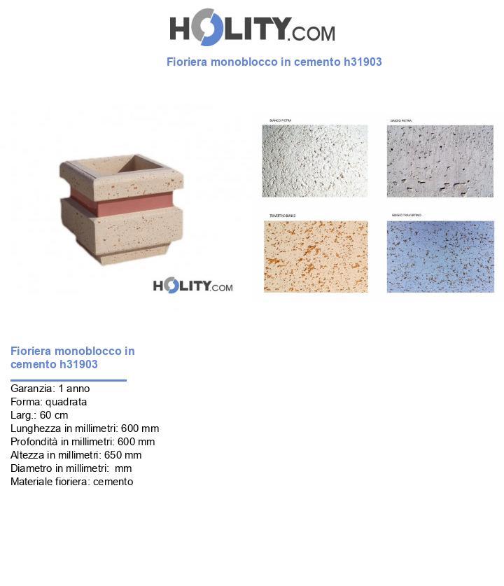 Fioriera monoblocco in cemento h31903
