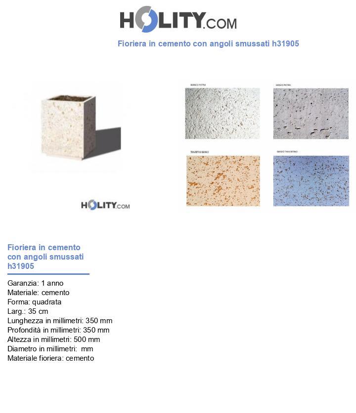 Fioriera in cemento con angoli smussati h31905