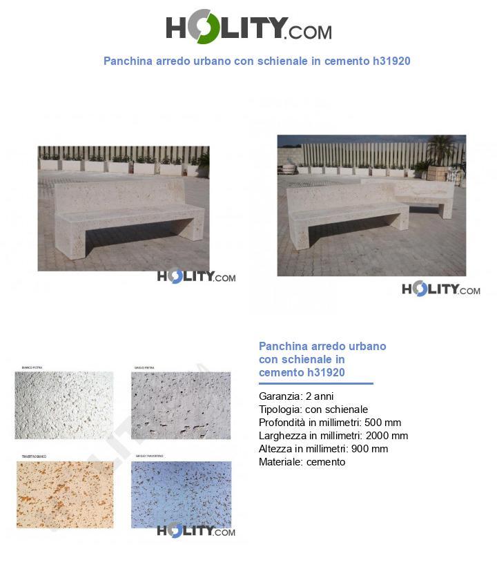 Panchina arredo urbano con schienale in cemento h31920