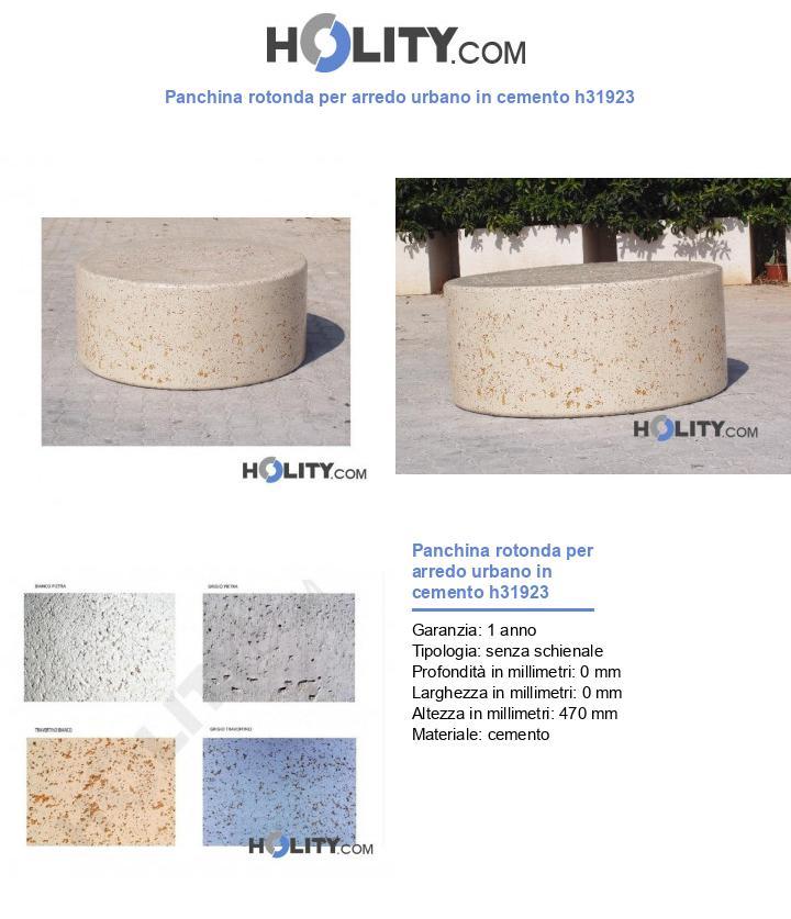 Panchina rotonda per arredo urbano in cemento h31923