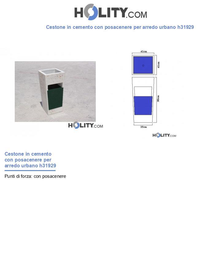 Cestone in cemento con posacenere per arredo urbano h31929