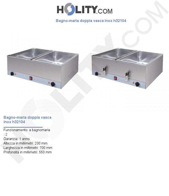 Bagno-maria doppia vasca inox h32104