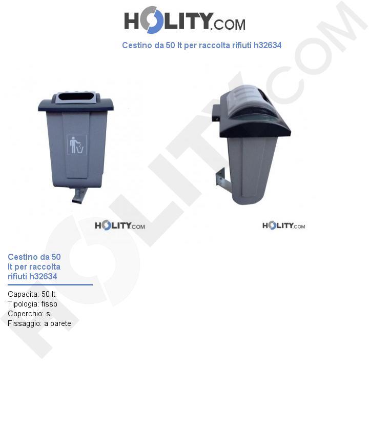 Cestino da 50 lt per raccolta rifiuti h32634