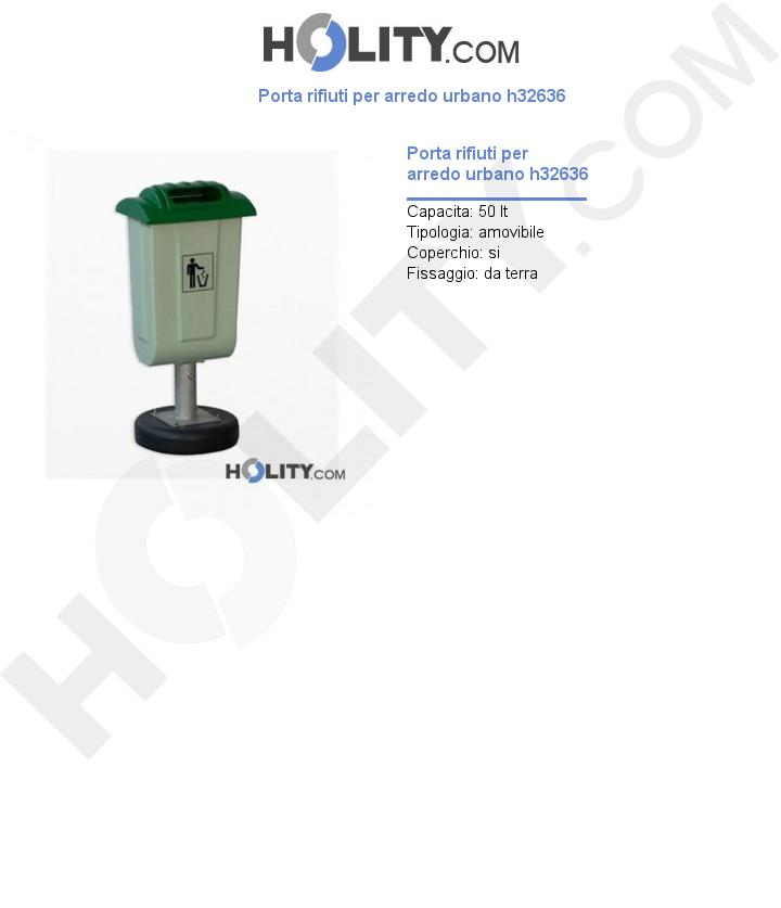 Porta rifiuti per arredo urbano h32636