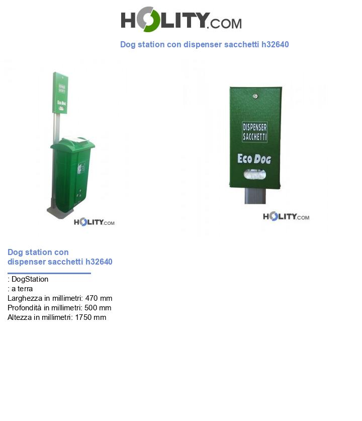 Dog station con dispenser sacchetti h32640