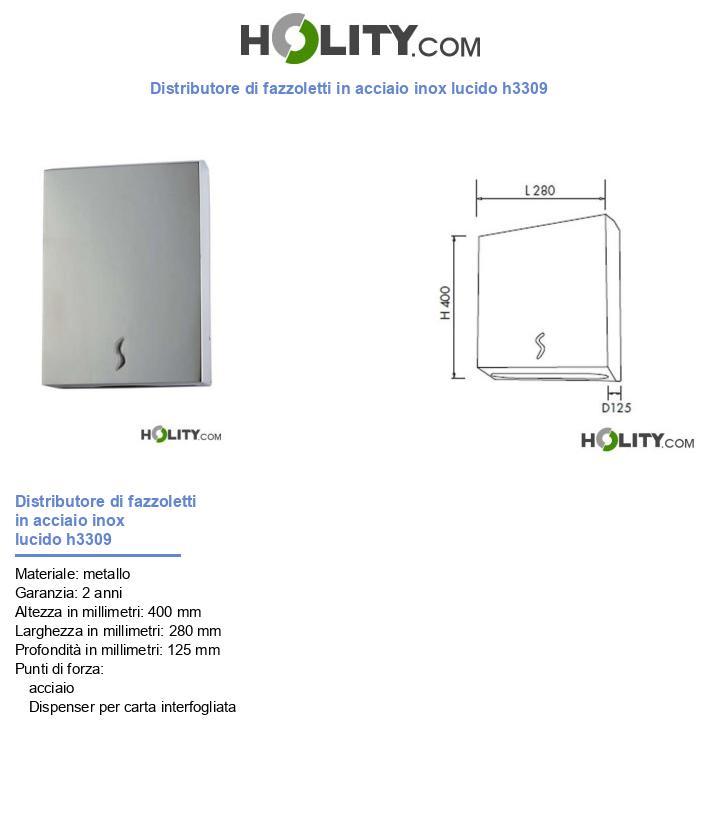 Distributore di fazzoletti in acciaio inox lucido h3309