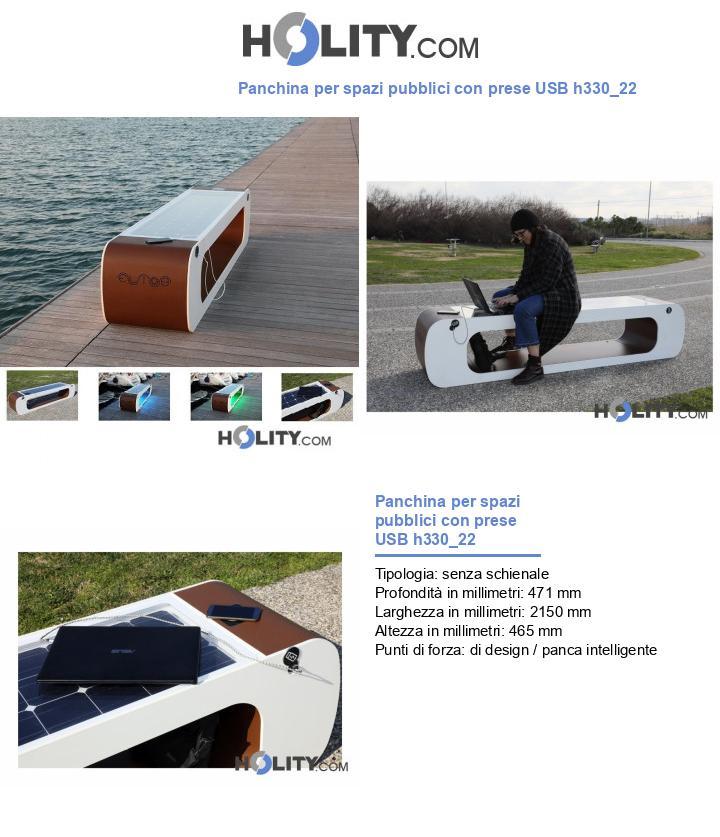 Panchina per spazi pubblici con prese USB h330_22