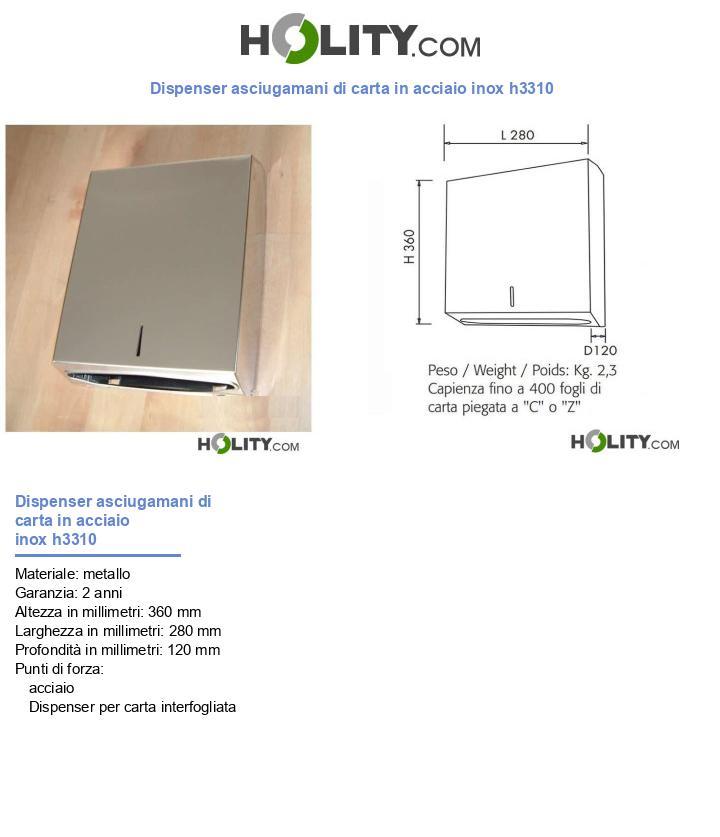 Dispenser asciugamani di carta in acciaio inox h3310