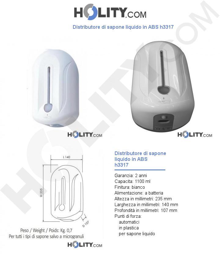 Distributore di sapone liquido in ABS h3317