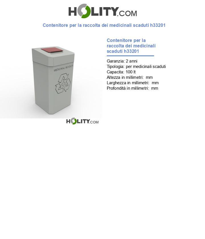 Contenitore per la raccolta dei medicinali scaduti h33201