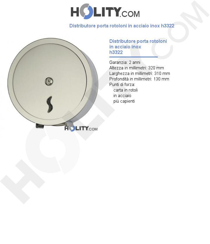 Distributore porta rotoloni in acciaio inox h3322