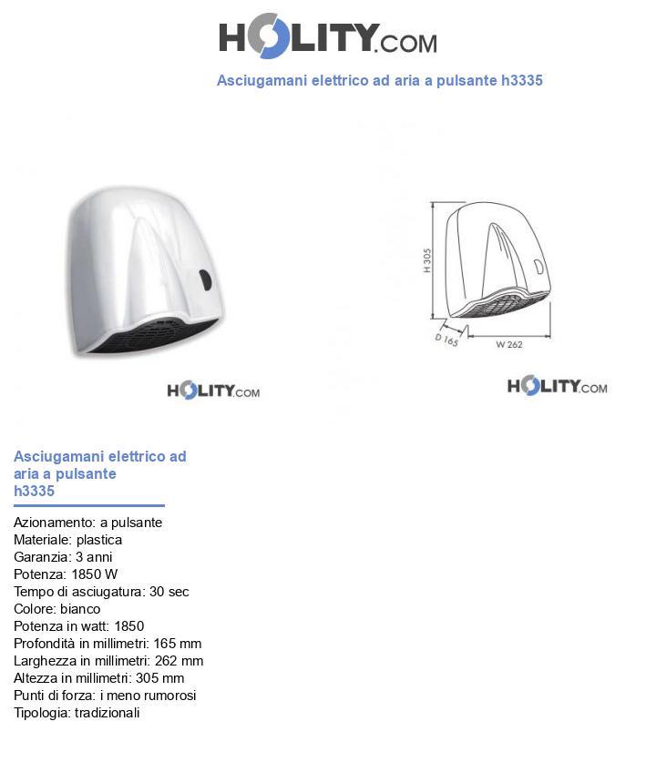 Asciugamani elettrico ad aria a pulsante h3335