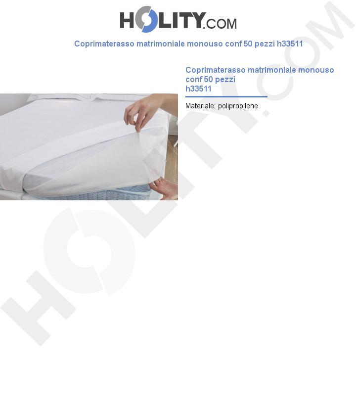 Coprimaterasso matrimoniale monouso conf 50 pezzi h33511