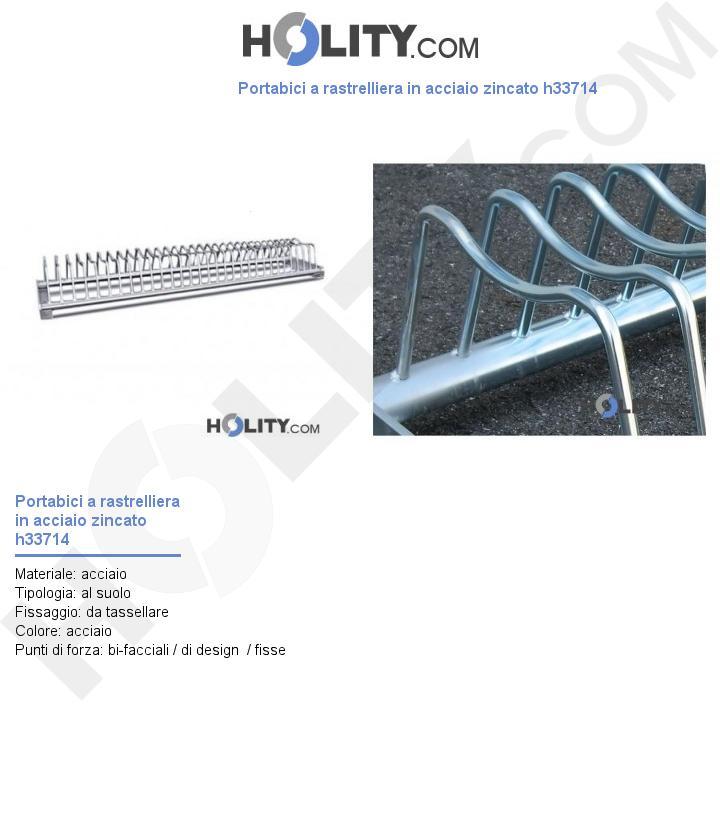 Portabici a rastrelliera in acciaio zincato h33714