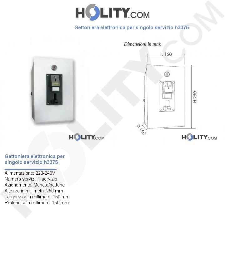 Gettoniera elettronica per singolo servizio h3375