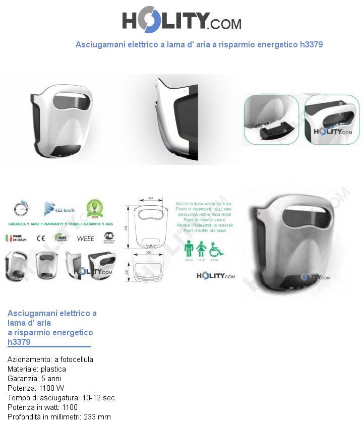Asciugamani elettrico a lama d' aria a risparmio energetico h3379