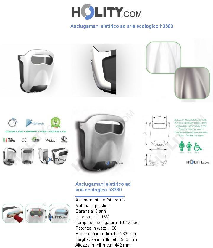 Asciugamani elettrico ad aria ecologico h3380