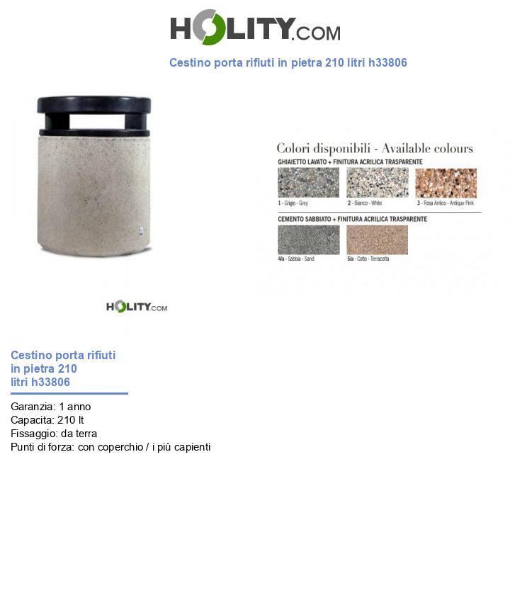 Cestino porta rifiuti in pietra 210 litri h33806