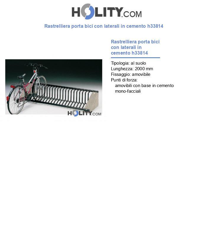 Rastrelliera porta bici con laterali in cemento h33814
