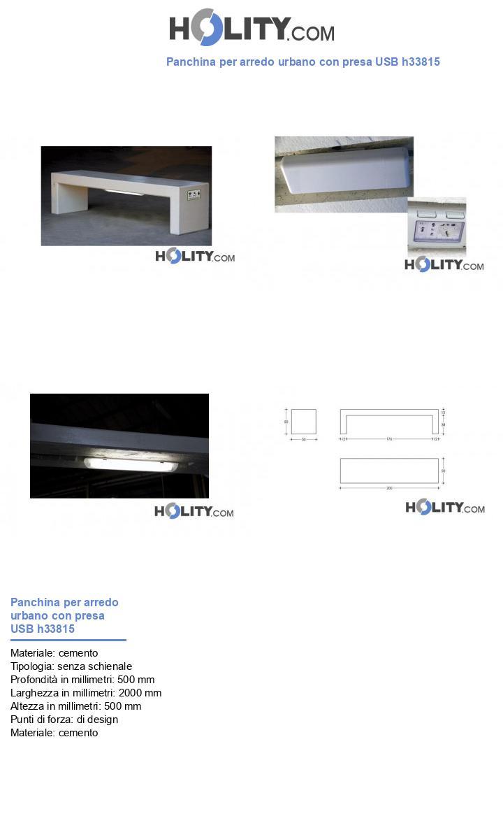 Panchina per arredo urbano con presa USB h33815