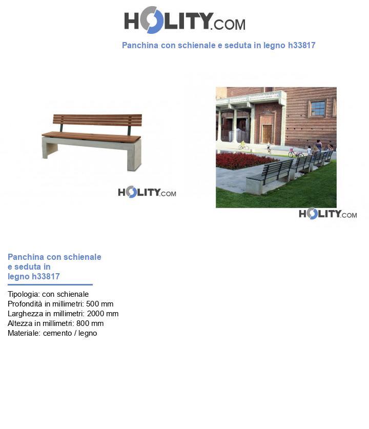 Panchina con schienale e seduta in legno h33817