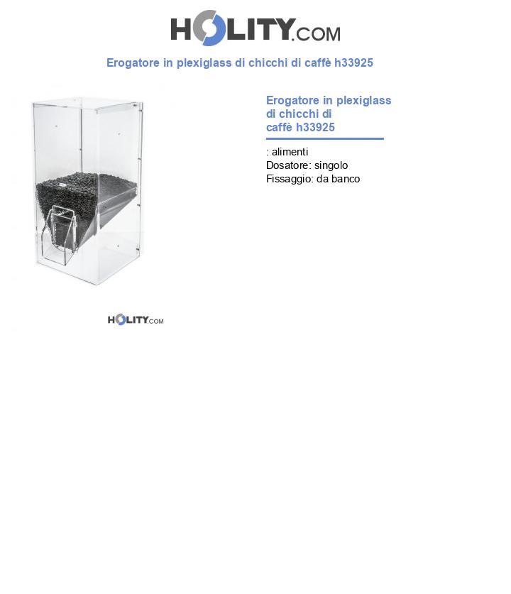 Erogatore in plexiglass di chicchi di caffè h33925