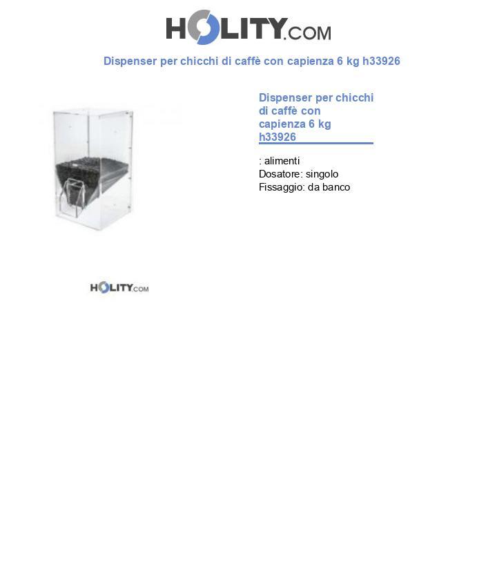 Dispenser per chicchi di caffè con capienza 6 kg h33926