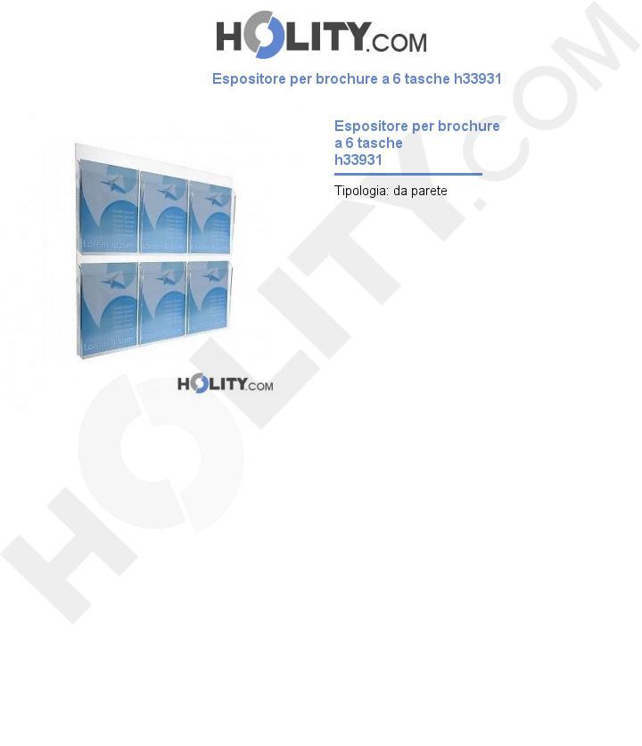 Espositore per brochure a 6 tasche h33931